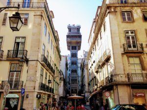 Elevador de Santa Justa, Lisbon, iron building, Eiffel, elevator