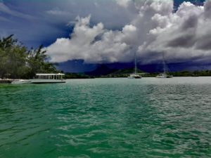 Thunderstorm, rain, Mauritius, Indian Ocean, Tropical storm, sailing, catamaran, boats