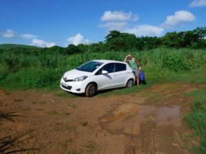 Road trip, driving in Mauritius, Toyota, dirt road, Mauritius