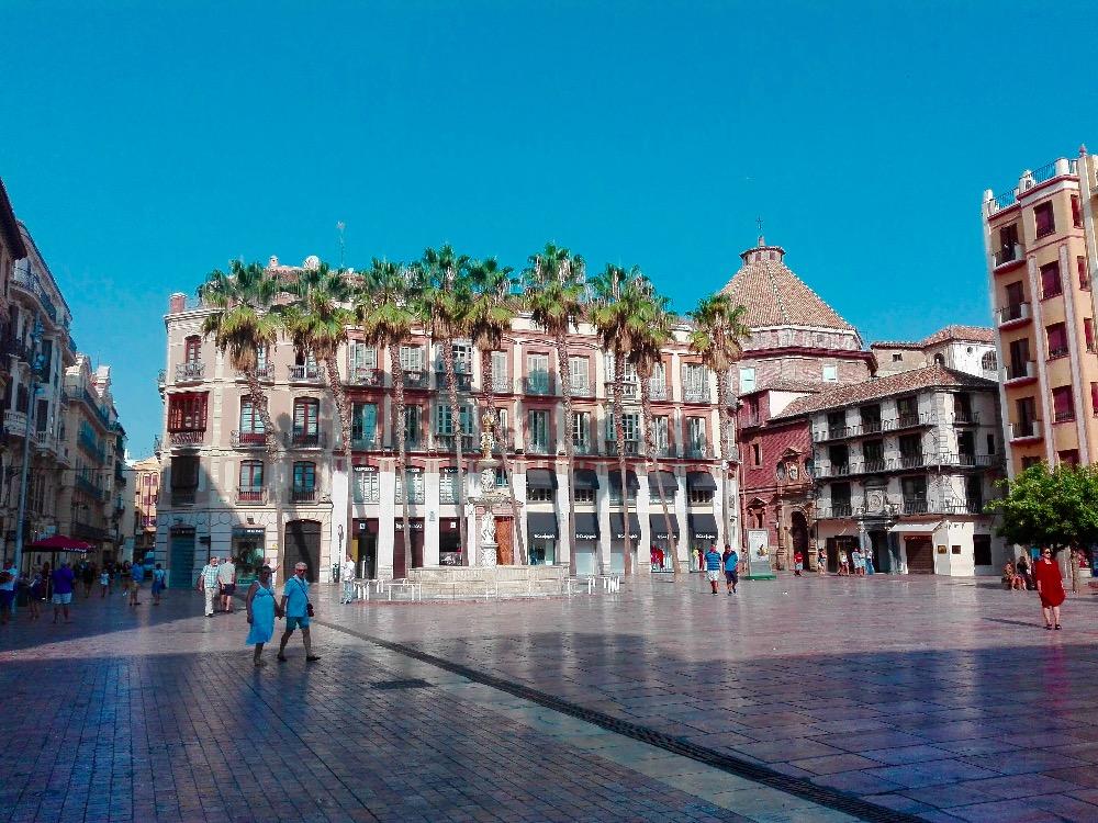 malaga, square, big square in malaga, Malaga, plaza de la Constitucion, Plaza del constitucion