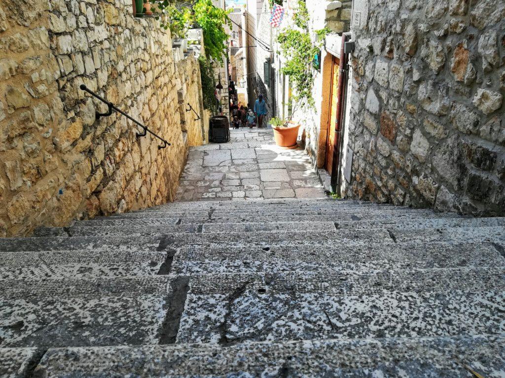 alley, cobblestone, steep, medieval, old town, alleyways, Hvar, Hvar old town, Croatia, Europe,