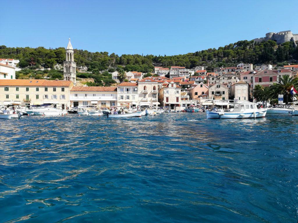 Hvar, Hvar town, harbour, old town. Spanjola, sailing, Croatia, Europe, Mediterranean, Adria, Sea, water