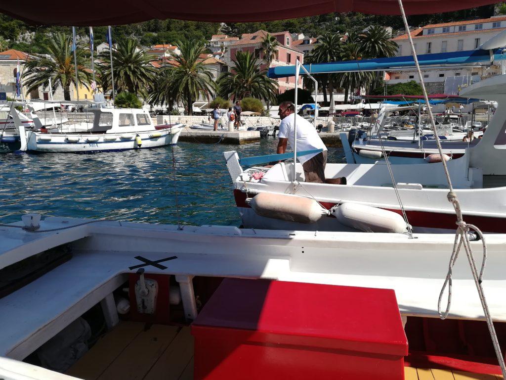 taxi-boat, sailing, Hvar harbour, Hvar, Europe, Balkan, Croatia, Mediterranean, Adria, Pakleni island, Kunas