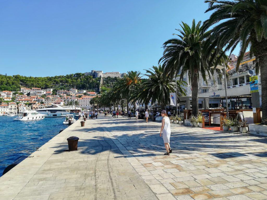Pavement, harbour promenade, promenade, harbour, palm trees, old town, Hvar, Hvar town, Croatia, Europe, sea, Mediterranean, Adria, partying,