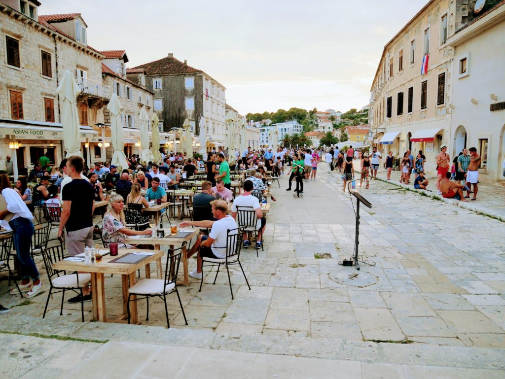 Town square, square, Hvar town, Hvar, restaurants, cafes, people, summer, vacation, Europe, Islands, summer evening, history, Croatia